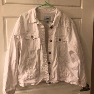 White denim distressed jacket